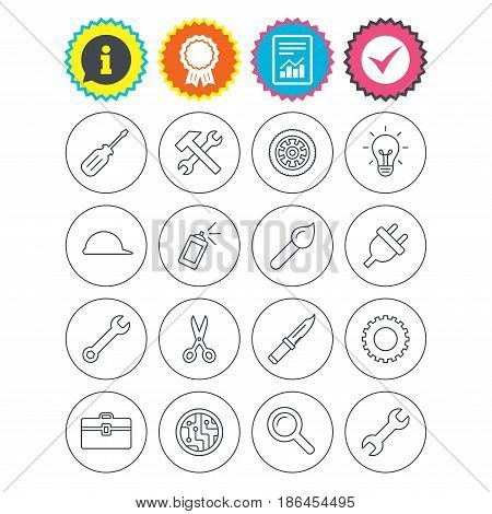 Report, information and award signs. Repair tools icons. Hammer with wrench key, wheel and brush. Screwdriver, electric plug and scissors. Circuit board, magnifying glass and construction helmet