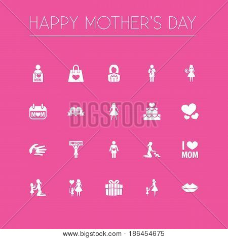 Mothers Day Icon Design Concept. Set Of 20 Such Elements As Emotion, Lady And Mouth. Beautiful Symbols For Present, Soul And Daughter.