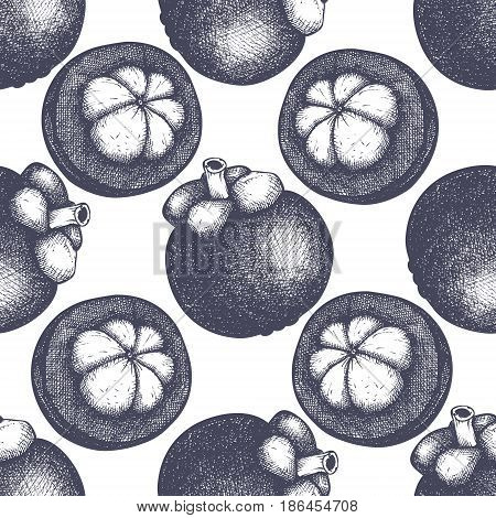 Tropical hand drawn illustration. Engraved botanical sketch. Tropical evergreen tree seamless pattern.