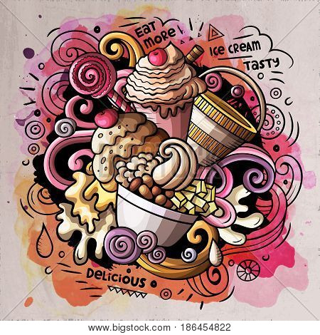 Ice Cream art cartoon vector doodle illustration. Watercolor detailed design with lot of objects and symbols. All elements separate