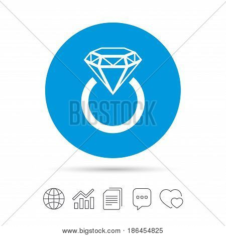 Jewelry sign icon. Ring with diamond symbol. Copy files, chat speech bubble and chart web icons. Vector