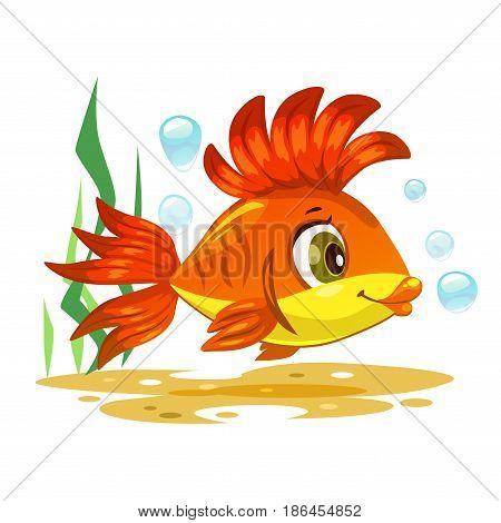Cute orange tropical fish. Vector underwater illustration.