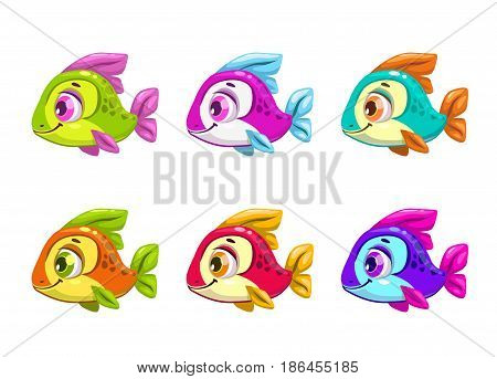 Colorful cartoon fishes set. Vector icons, isolated on white background.