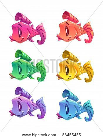 Cute cartoon colorful little fishes set. Vector icons, isolated on white background.