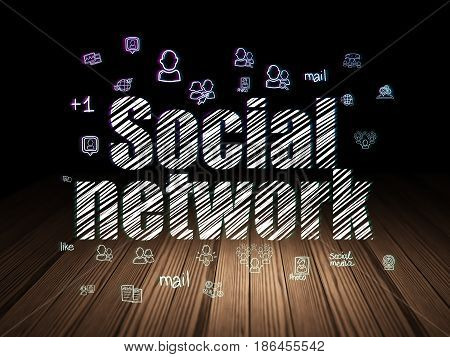 Social media concept: Glowing text Social Network,  Hand Drawn Social Network Icons in grunge dark room with Wooden Floor, black background