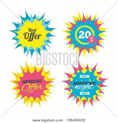 Shopping offers, special offer banners. Best offer sign icon. Sale symbol. Discount star label. Vector