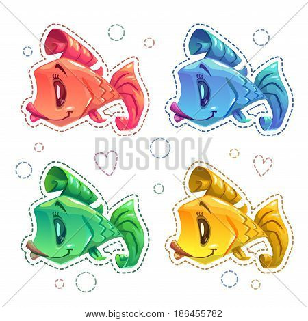 Cute cartoon colorful fishes set. Vector patch collection