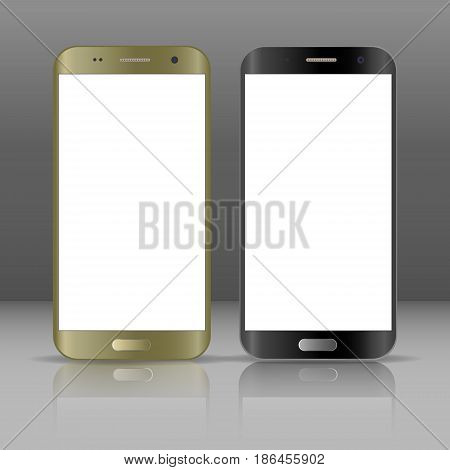 Realistic smartphone. Two realistic vector illustrations phone. Device set. Realistic smartphone gold and black cellphone