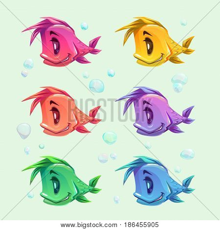 Funny cartoon colorful fishes set. Vector icons