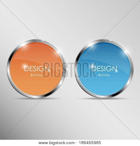 Round buttons with metal frame. Orange and blue shiny 3d icons. Vector illustration isolated on white background