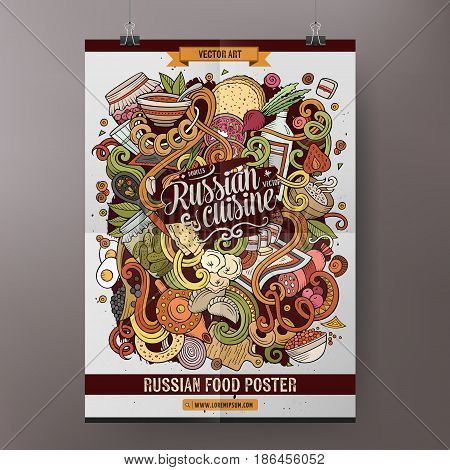 Cartoon colorful hand drawn doodles Russian food poster template. Very detailed, with lots of objects illustration. Funny vector artwork. Corporate identity design.