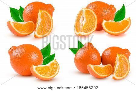 orange tangerine or Mineola with a slices isolated on white background. Set or collection.