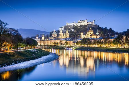 Beautiful View Of Salzburg Skyline With Festung Hohensalzburg And Salzach River At Blue Hour, Salzbu