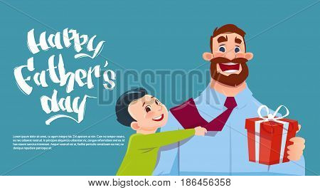 Happy Father Day Family Holiday, Son Embracing Dad Holding Present Box Greeting Card Flat Vector Illustration