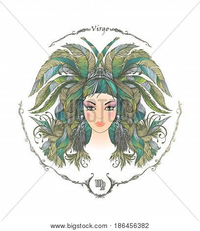 Zodiac sign. Hand drawn portrait of a beautiful woman. Vector illustration of Virgo zodiac sign.