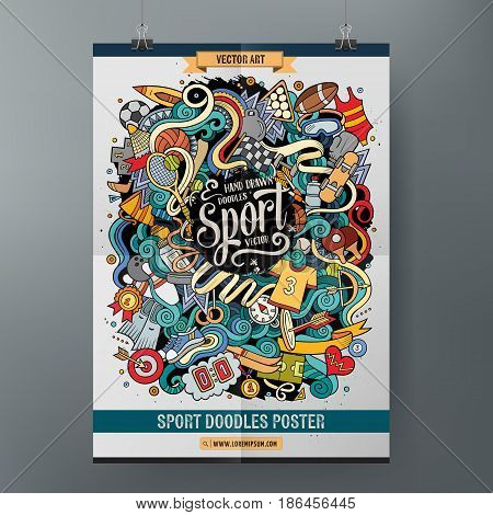 Cartoon colorful hand drawn doodles Sport poster template. Very detailed, with lots of objects illustration. Funny vector artwork. Corporate identity design.