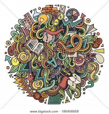Cartoon cute doodles hand drawn Idea illustration. Colorful detailed, with lots of objects background. Funny vector artwork. Bright colors picture with Concept theme items