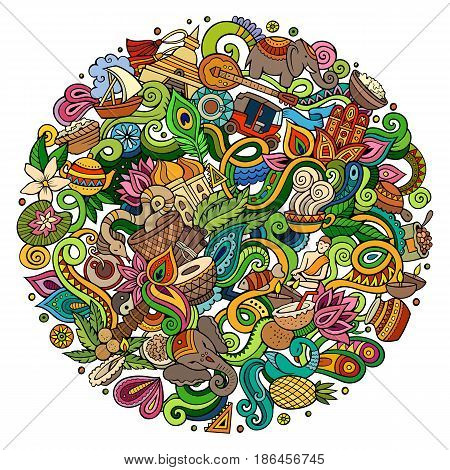 Cartoon cute doodles hand drawn India illustration. Colorful detailed, with lots of objects background. Funny vector artwork. Bright colors picture with indian culture theme items