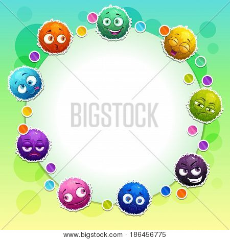 Funny childish banner with cute colorful fluffy round characters. Vector illustration.