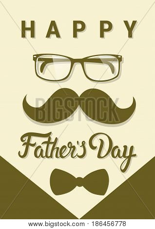 Happy Father Day Family Holiday Greeting Card Flat Vector Illustration
