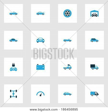 Automobile Colorful Icons Set. Collection Of Battery, Sedan, Truck And Other Elements. Also Includes Symbols Such As Wagon, Hatchback, Sedan.