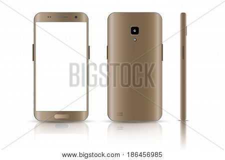Realistic smartphone.  Realistic vector illustrations phone. Device set. Realistic smartphone gold. Phone from different sides