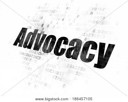 Law concept: Pixelated black text Advocacy on Digital background
