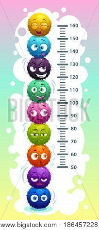 Kids height chart with funny cartoon colorful round fluffy characters. Vector illustration