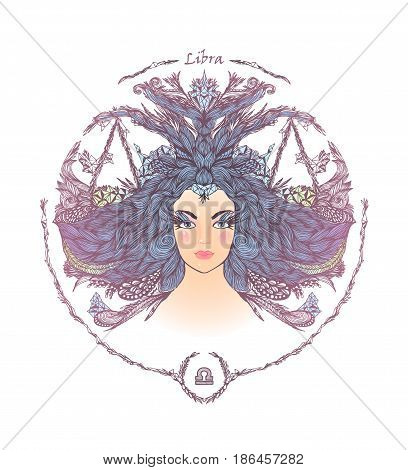 Zodiac sign. Hand drawn portrait of a beautiful woman. Vector illustration of Libra zodiac sign.