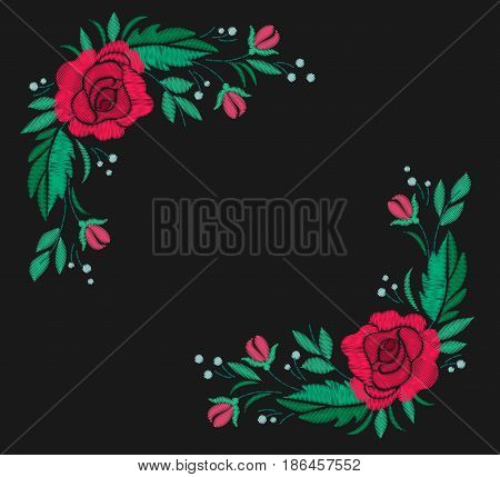 Vintage flower composition embroidery. Elements of clothing design. Vector illustration