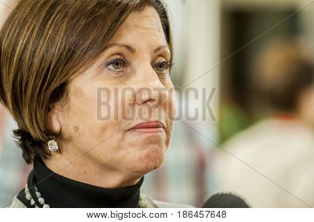 JERUSALEM, ISRAEL - June 10, 2014. Israeli politician and Meretz party chairperson Zehava Gal-On commenting to the press during the presidential elections in the Israeli Parliament Knesset.