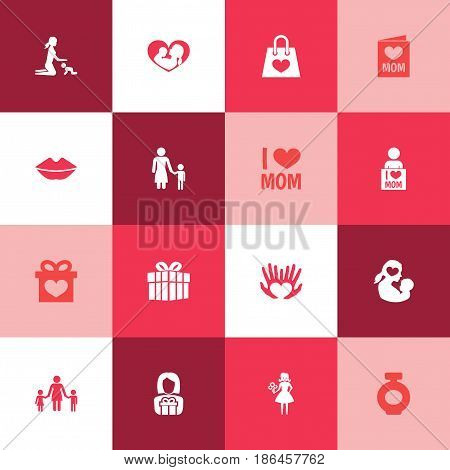 Mothers Day Icon Design Concept. Set Of 16 Such Elements As Emotion, People And Infant. Beautiful Symbols For Mom, Bag And Perfume.