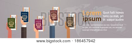 Hands Group Holding Passport Ticket Boarding Pass Travel Document Over World Map Background Flat Vector Illustration