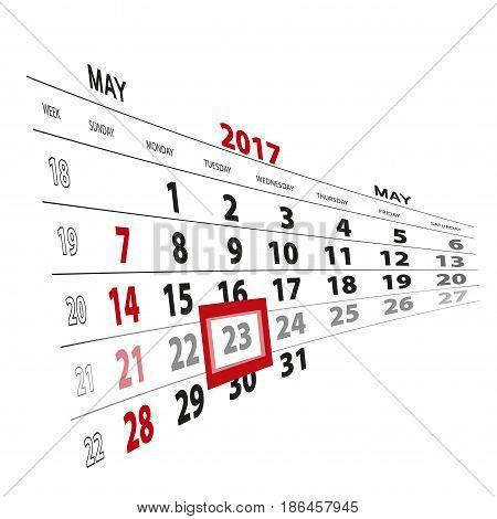 May 23, Highlighted On 2017 Calendar.