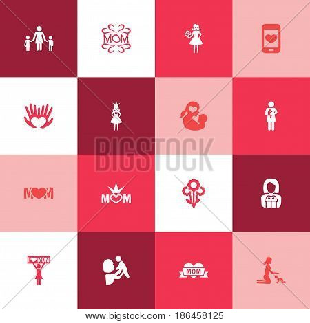 Mothers Day Icon Design Concept. Set Of 16 Such Elements As Newborn Baby, Kid And Placard. Beautiful Symbols For I, Screen And Love.
