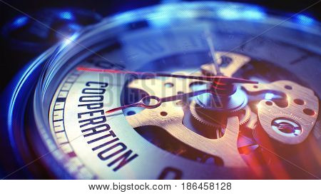 Cooperation. on Vintage Watch Face with Close Up View of Watch Mechanism. Time Concept. Film Effect. Vintage Watch Face with Cooperation Phrase on it. Business Concept with Film Effect. 3D Render.