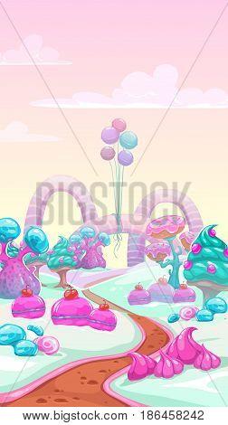 Cartoon vector sweet landscape. Vertical fantasy background for game design.