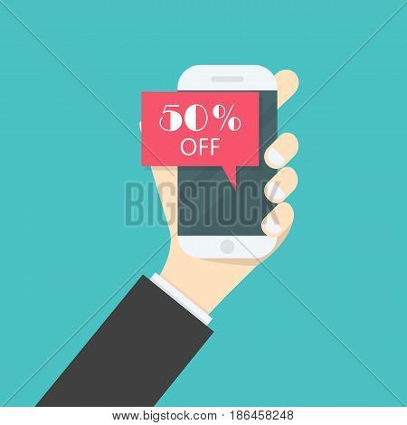 Businessman hand and smart phone icon with special offer sale red tag isolated symbol.Discount offer price label on smart phone.Advertising campaign symbol in retailsale promo marketing50% off discount sticker.Vector illustration