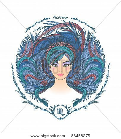 Zodiac sign. Hand drawn portrait of a beautiful woman. Vector illustration of Scorpio zodiac sign.