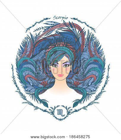 Zodiac sign. Hand drawn portrait of a beautiful woman. Vector illustration of Scorpio zodiac sign.
