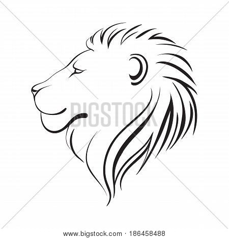 Isolated lions head stylized line. Linear art vector illustration logo. Lion's profile. Stylized face of lion isolated on white background.