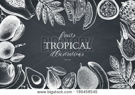 Summer greeting card or invitation design. Vector frame with hand drawn tropical fruits sketch. Vintage background exotic plants and flowers on chalkboard