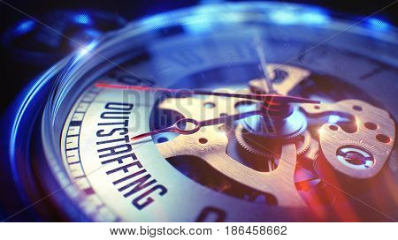 Watch Face with Outstaffing Wording on it. Business Concept with Lens Flare Effect. Outstaffing. on Pocket Watch Face with CloseUp View of Watch Mechanism. Time Concept. Light Leaks Effect. 3D.