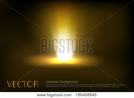 Vector illustration of a golden light ray, a light beam, a glow effect, an explosion, a flash on a black background. Advertising poster template for promotion of cosmetic products