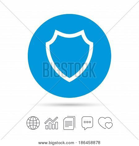Shield sign icon. Protection symbol. Copy files, chat speech bubble and chart web icons. Vector