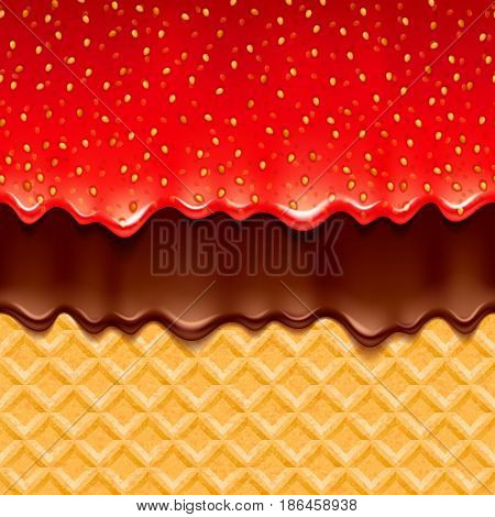 Wafer and strawberry jam and melted chocolate - vector background. Sweet texture. Soft icing. Seamless horizontal pattern.