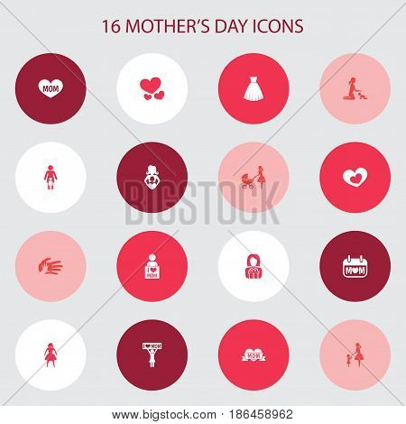 Mothers Day Icon Design Concept. Set Of 16 Such Elements As Evening Gown, Gift To Mother And I Love Mom. Beautiful Symbols For Gown, Baby And Helping.