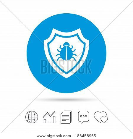 Shield sign icon. Virus protection symbol. Bug symbol. Copy files, chat speech bubble and chart web icons. Vector