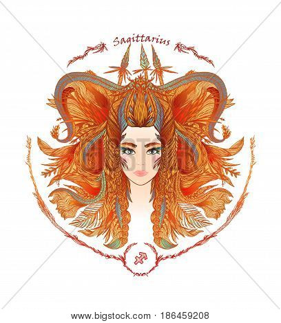 Zodiac sign. Hand drawn portrait of a beautiful woman. Vector illustration of Sagittarius zodiac sign.