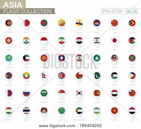 Asia Flags Collection. Big Set Of Blue Pin Icon With Flags.